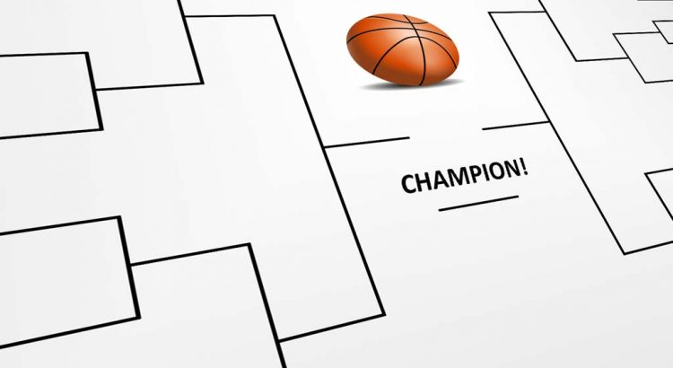 A closeup shot of a basketball tournament bracket.